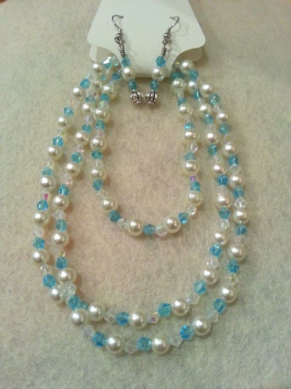 Elegant Set  Aqua Blue Swarovski Crystal by FrantasticCreationz, $20.00