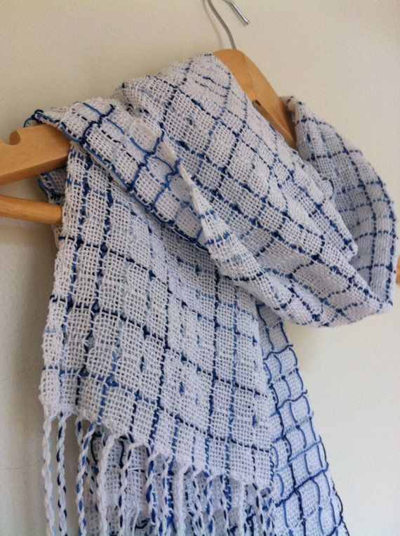 Lightweight Blue and White Scarf by kristyWeaves on Etsy, $45.00 - perfect for Houston
