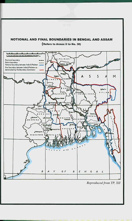 Map of the second partition of Bengal,  1947.