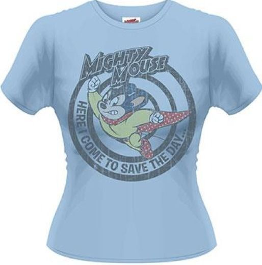 Mighty Mouse Save The Day 80s Print Official Ladies Skinny T-Shirt Various Sizes Get It Here http://ebay.eu/1R72rhG