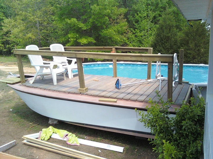 Turned A Boat Into My Pool Deck For The Home In 2019