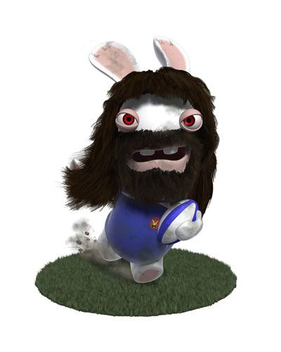 Lapin Crétin - En mode Chabal (rugby)