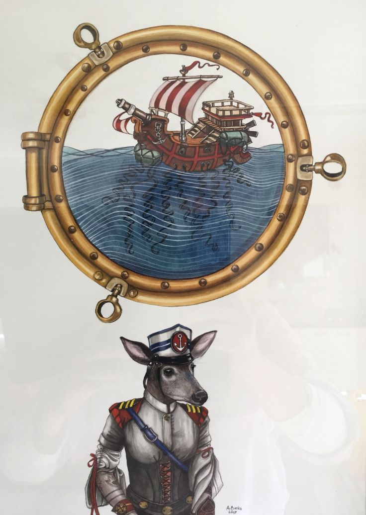 Angela Banks 2015. 'Skipper Suzie and her porthole dreams'. Watercolour on paper. 54 x43 cm