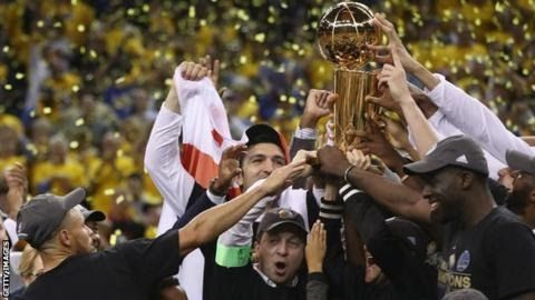 """The Golden State Warriors beat the Cleveland Cavaliers to regain the NBA Championship with a 4-1 series win.  The Warriors secured a 129-120 victory on Monday to take their second title in three seasons and cap a near-perfect run through the play-offs. Golden State beat Cleveland in the 2015 Finals only to lose to them last year squandering a 3-1 series lead. Warriors forward Kevin Durant 28 was named the Most Valuable Player of the Finals. """"I couldn't sleep for two days"""" Durant said. """"I was…"""