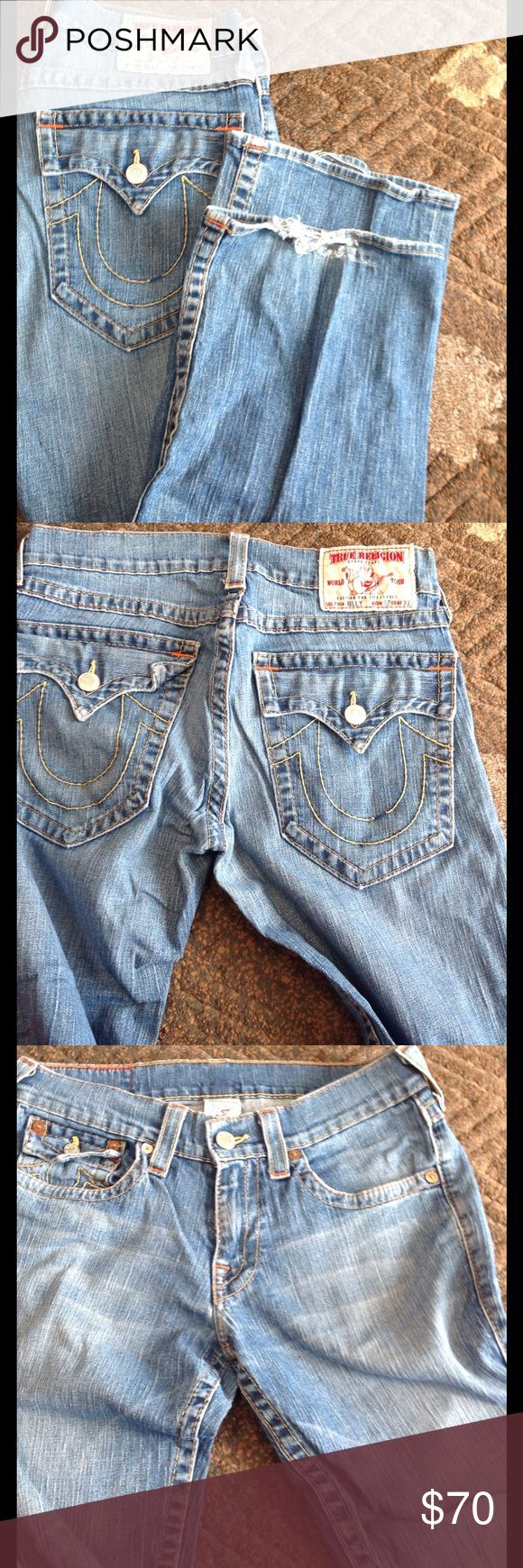 True religion men's jeans Light denim jeans with some wear on bottoms. 32x33 True Religion Jeans Bootcut