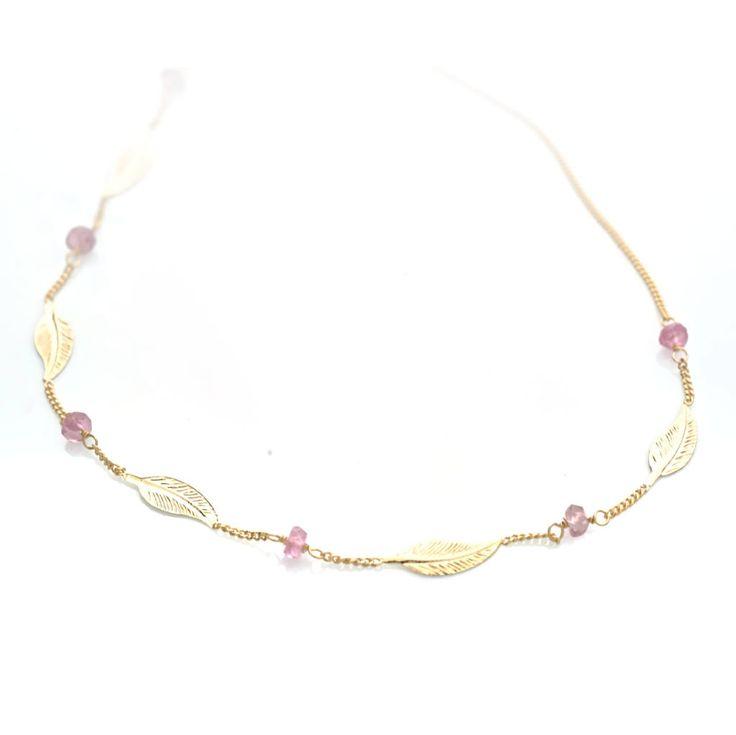 #Bijou Femme :: #Collier 5 petites #plumes et #tourmalines roses - Disponible en #Or Blanc ou en Or Jaune.