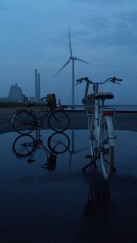 Green Tech, Green transport and modern power plant on a eveningride