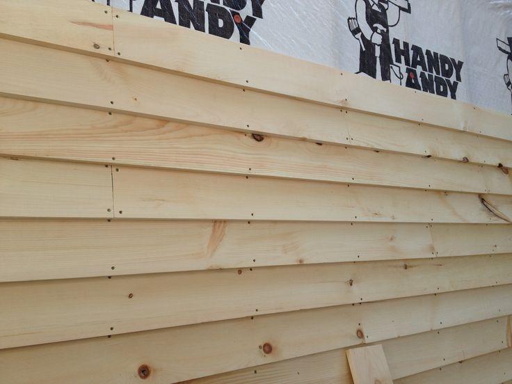 The siding going up we used 1x6 pine lap siding denise E log siding