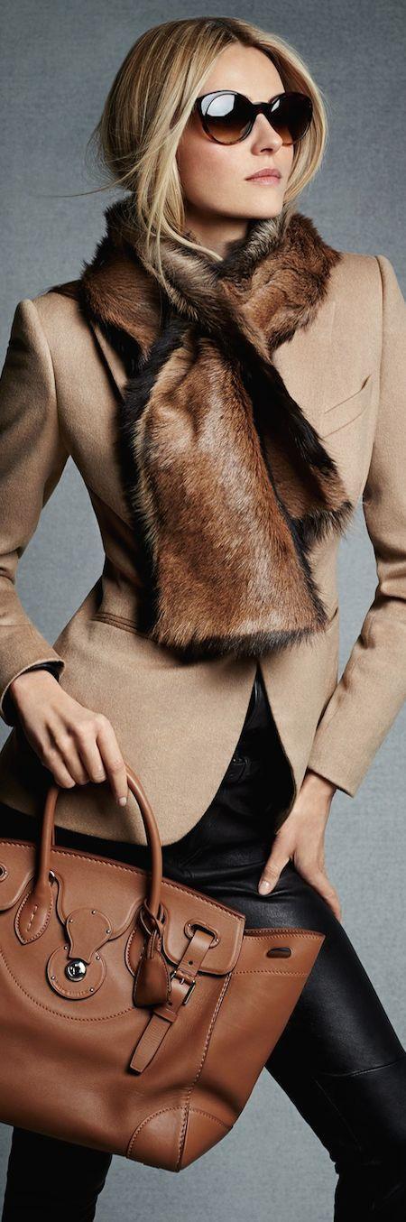 Designer fashion | Neutral blazer, fur scarf and leather pants | Ralph Lauren