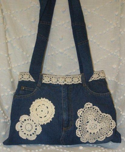 purses from blue jeans | Ploomer Blue Denim Jean Bag Crocheted Doilies Handbag Purse