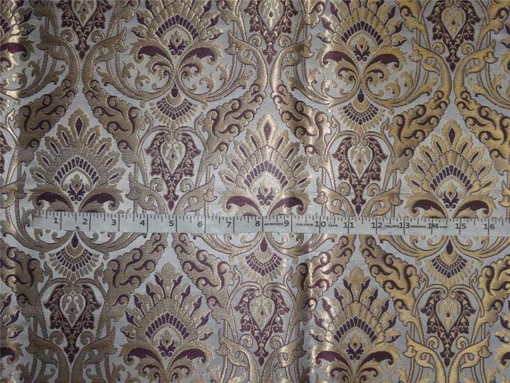 "Heavy Silk Brocade Aubergine, Ivory x Metallic Gold Color 36"""