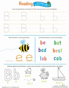 Get Ready for Reading: All About the Letter B Worksheet