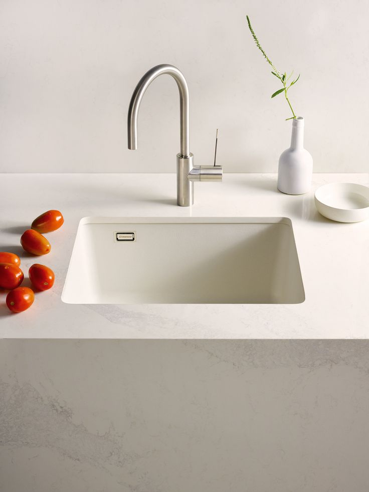 Caesarstone pure white sink caesarstone calacatta nuvo countertops the caesarstone kitchen - Caesarstone sink kitchen ...