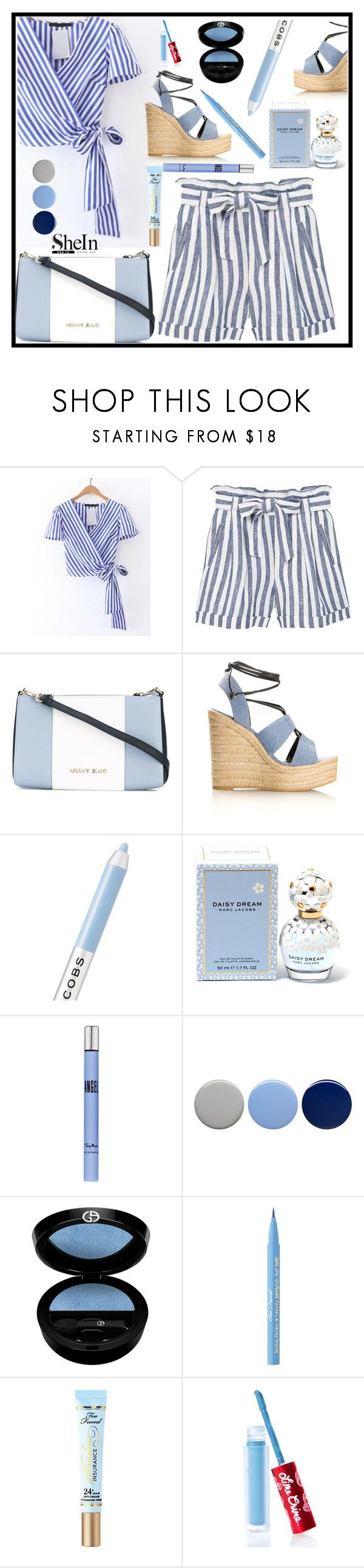 """""""Win $35 coupon! - Shein Contest"""" by imsirovic-813 ❤ liked on Polyvore featuring MANGO, Armani Jeans, Yves Saint Laurent, Marc Jacobs, Thierry Mugler, Burberry, Giorgio Armani, Too Faced Cosmetics and Lime Crime"""