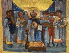 The Bristol Psalter f. 7v: King David with his musicians. Greece (11th Century/1000s) 105 x 85 mm (text space: 70 x 60 mm). Psalter with 14 odes and the apocryphal Psalm 151. The manuscript was classified among the 'monastic Psalters', but combines features of the 'aristocratic' recension with those of the 'monastic' type (see Byzantine Art, 1964).Decoration: This manuscript is one of the few so-called marginal Psalters to survive, with numerous small images painted in the text of the…
