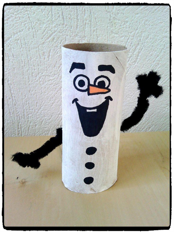 Olaf en rouleau de papier toilette, bricolage reine des neiges, enfant