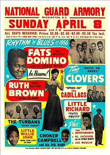 """Rhythm & Blues Of '56 - Fats Domino."" Fantastic A4 Glossy Print Taken from A Vintage Concert Poster by Design Artist http://www.amazon.co.uk/dp/B0154UQVD0/ref=cm_sw_r_pi_dp_rOd8vb0890NC0"