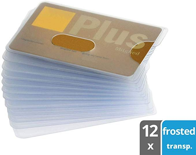 Valonic Credit Card Sleeves 12x Id Card Protector With Hole Opening Frosty Transparent Strong Plastics Business Card Sleeve Credit Card Sleeve Card Sleeves