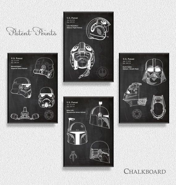 Star Wars Helmet Patents Set of 4 Prints by PatentPrintsPosters