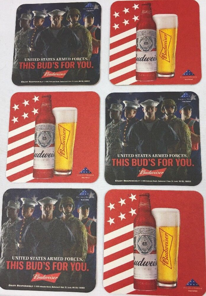 Lot / 6 Budweiser USA Armed Forces Beer Mat Coaster This Buds For You Sous-Bock  #Budweiser