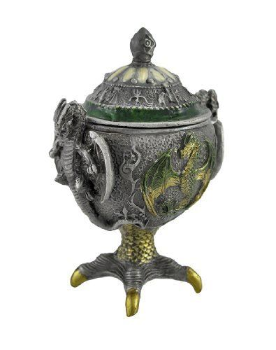 Solid Pewter Medieval Dragon Chalice Trinket Box by Private Label. Save 50 Off!. $14.99. This amazing medieval dragon patterned chalice trinket box is the perfect gift for dragon lovers. Made of pewter, the box is lovingly hand-painted in candy green, pearl white and metallic gold enamels. The chalice features evil looking dragons in relief on the sides. It measures 4 inches tall, 2 3/4 inches wide and 2 1/4 inches deep. This beautiful box makes a great gift for anyone who collects tri...
