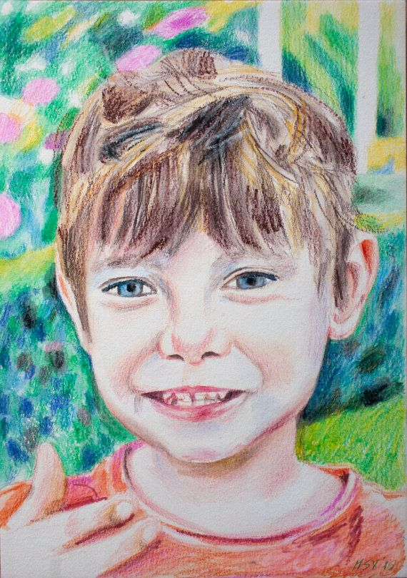 Custom PORTRAIT DRAWING  after Photo by BabyPortraitArt on Etsy . The #painting was made with #watercolor #pencils and #pastels from #Fabercastel and #Cretacolor, on a cardboard specially designed for watercolor.