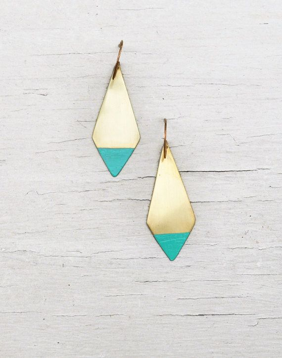 Turquoise Earrings Southwestern Geometric Brushed Brass by ILIOS on Etsy