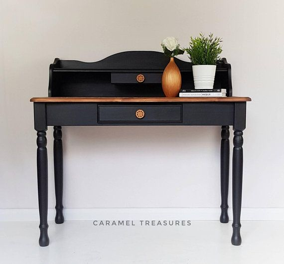 Black console table small dressing table upcycled hall table ...
