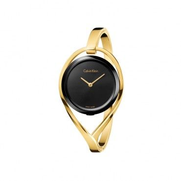 Calvin Klein Light K6L2M411 Γυναικείο ρολόι CK με χρυσή χειροπέδα και μαύρη κάσα-καντράν | CALVIN KLEIN ρολόγια στο Χαλάνδρι online ΤΣΑΛΔΑΡΗΣ #Calvin #Klein #light #χειροπεδα #ρολοι