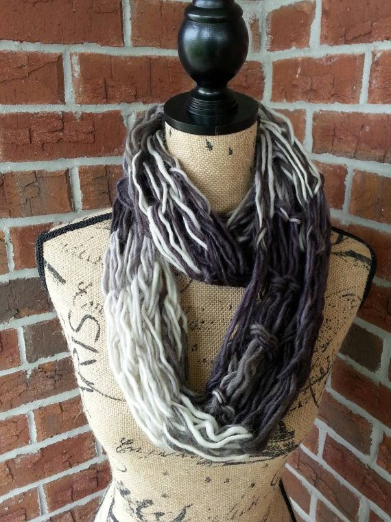 Wool Arm knitted infinity scarf, black and gray ombre, neutral scarf, knit scarf, infinity scarf, Bulky arm knit scarf