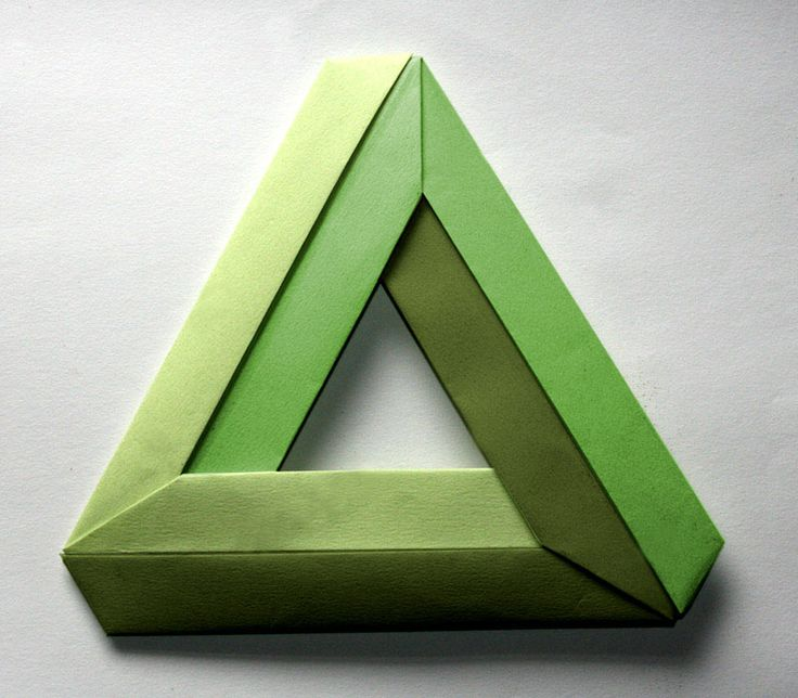 https://flic.kr/p/8m3xwi   Penrose triangle   a 3 piece impossible or Penrose triangle. Each unit is a 4x1 rectangle. Created by Nick Robinson