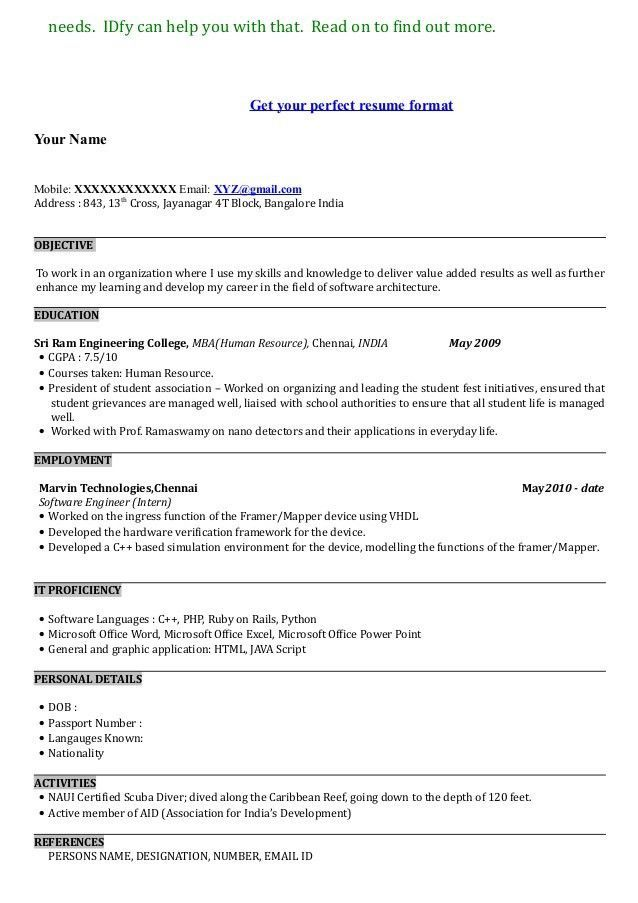 image result for show me best resume format