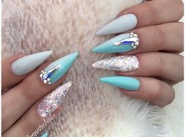 The 25 best summer stiletto nails ideas on pinterest stiletto blue and grey ombr stiletto nails by margaritasnailz from nail art gallery prinsesfo Image collections