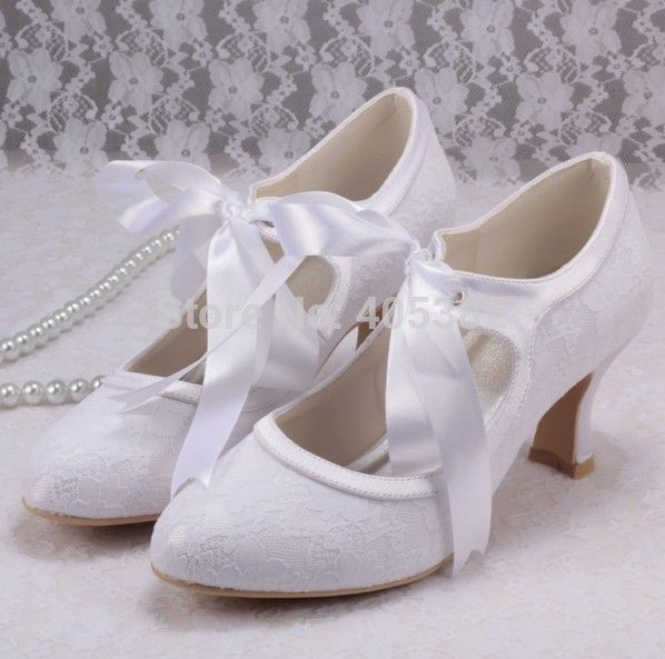 Wedopus White Ivory Almond Toe High Heel Lace Pumps Wedding Party Bridal Women Shoes with Ribbon