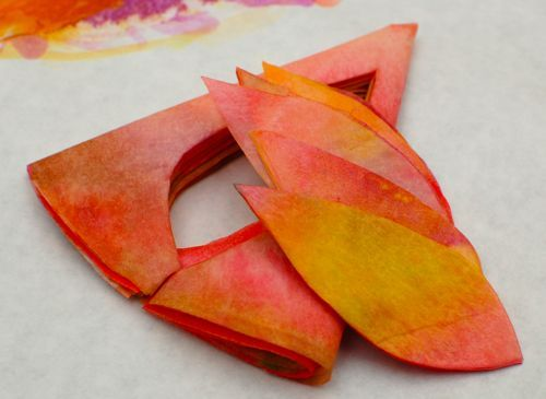autumn leaves from coffee filters and watercolors.