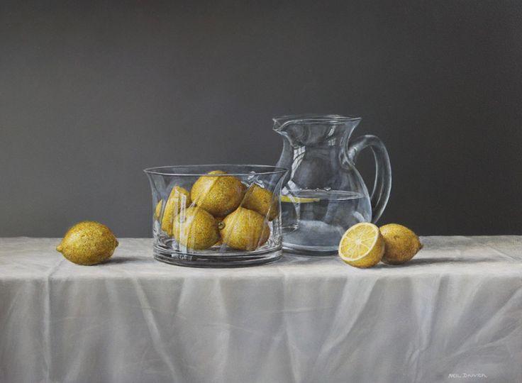 Parnell gallery artist Neil Driver Lemons and Glass Jug http://www.parnellgallery.co.nz/artworks/artist-neil-driver/lemons-and-glass-jug/
