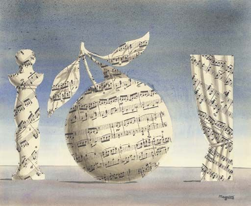 René Magritte (1898-1967)  La pensée visible  watercolour, pencil and collage on paper  14¼ x 17 3/8 in. (36.2 x 44.1 cm.)  Executed in 1961