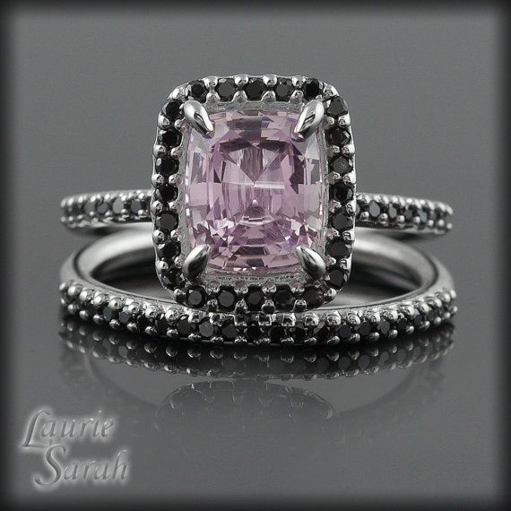Pink Sapphire with Black Diamond Wedding by LaurieSarahDesigns. Different, unexpected, and eye-catching.