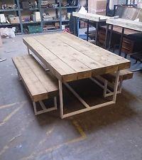 Industrial Chic Custom Sleeper Steel Dining Table & White Frame.Reclaimed Wood