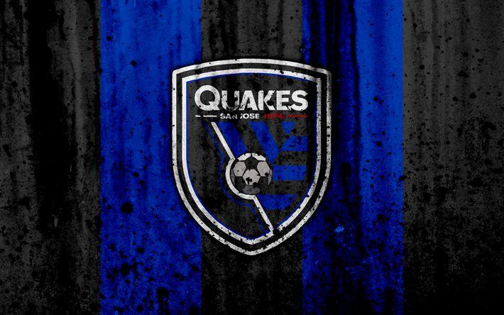 Download wallpapers 4k, FC San Jose Earthquakes, grunge, MLS, soccer, Western Conference, football club, USA, San Jose Earthquakes, logo, stone texture, San Jose Earthquakes FC