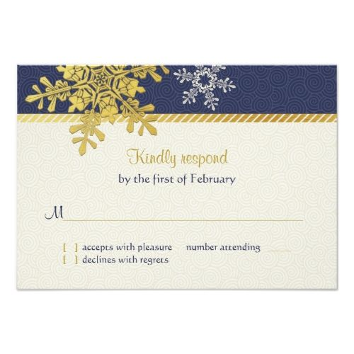 Winter Wedding Reception Navy Blue Gold Snowflake Winter Wedding Reply Card