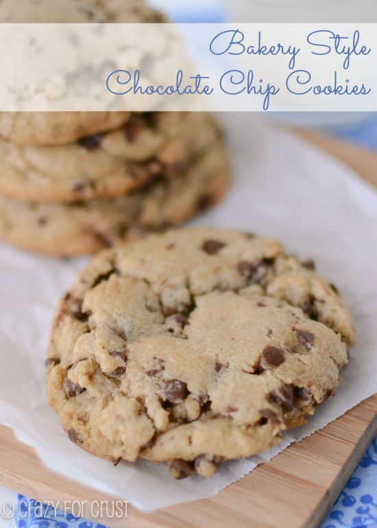 Bakery Style Chocolate Chip Cookies by crazyforcrust.com | XL Browned butter cookies filled with chocolate chips!: Chocolate Chips, Cookie Recipe, Brown Butter, Chocolate Chip Cookies, Dessert