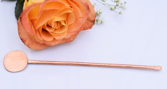 Circle copper hair pin hair accessory bun pin hair by TheLittleLab