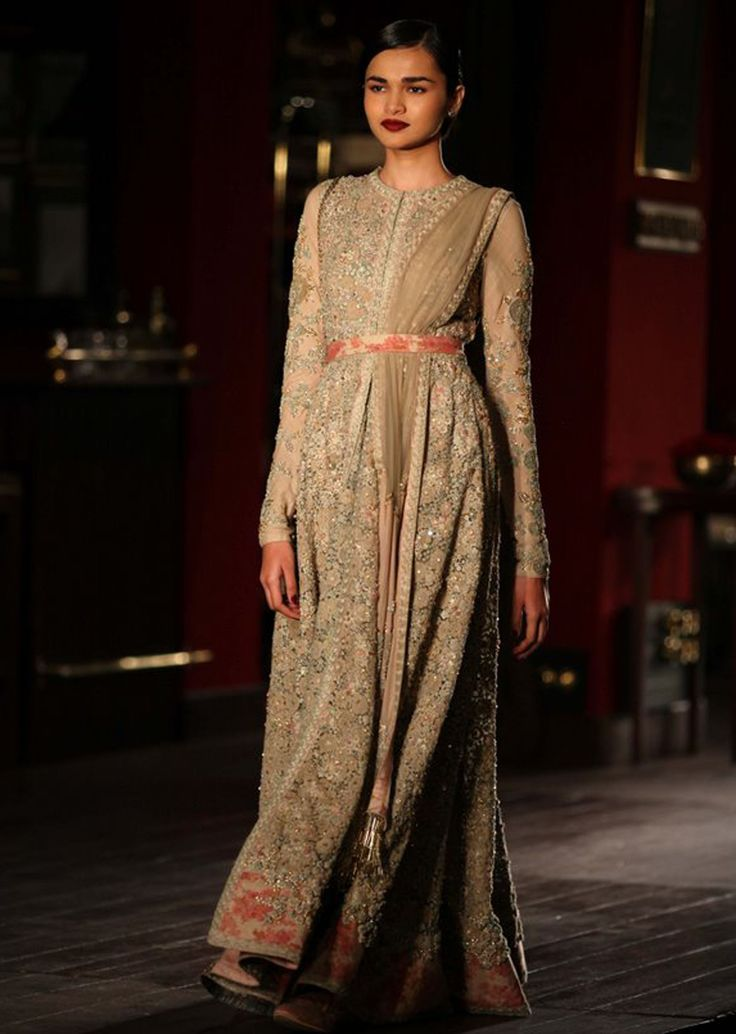 Model wearing grey anarkali suit for sabyasachi collection during Indian couture week  July 2014