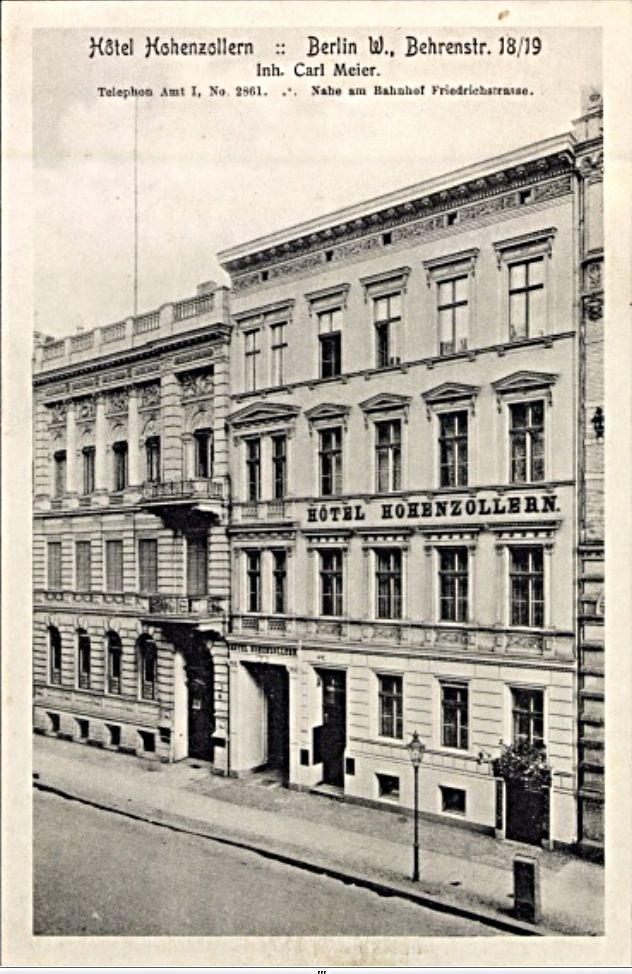 Behrenstraße 18-19.. Hotel Hohenzollern.. near  Bahnhof Friedrichstraße