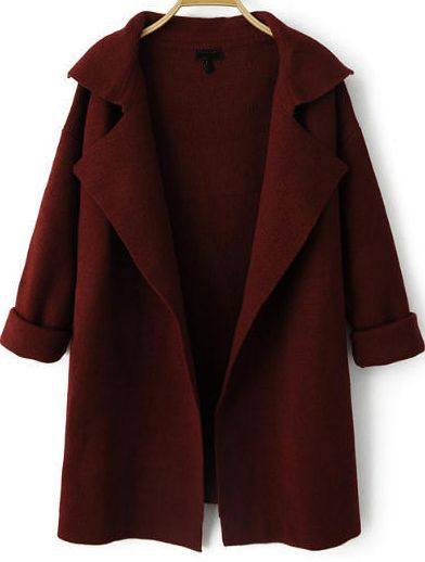Wine Red Lapel Long Sleeve Loose Knit Cardigan 25.90