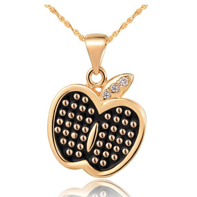Ожерелье 2015Hot продажа романтический дамы / мужчины ювелирные изделия из белого золота покрытием цепи милый яблоко кристалл N801 бесплатная доставка