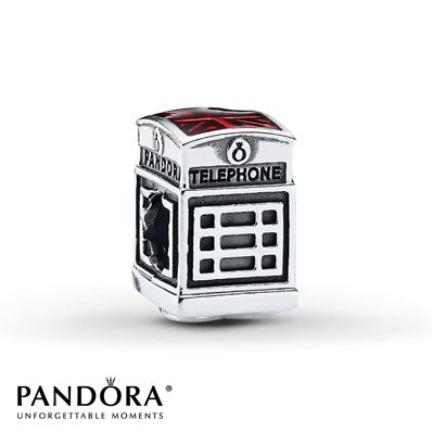 Pandora Charm Telephone Box Sterling Silver Stock number: 801861701 The London Calling telephone box charm fashioned in sterling silver from the Pandora Fall 2013 charm collection features the Union Jack in red enamel on top and a heart inscribed with Call Me on the bottom. Style # 791202EN49.  $45.00