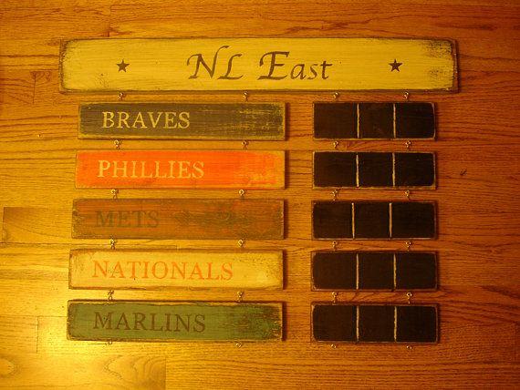 NL East Standings board Atlanta Braves by MyRusticBoardSigns, $79.00