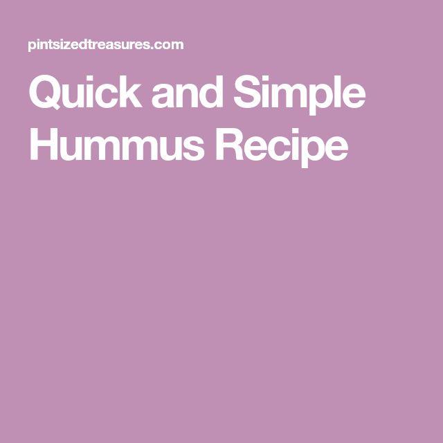 Quick and Simple Hummus Recipe